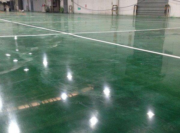 混凝土激光整平+綠色金剛砂地坪+密封固化劑地坪案例