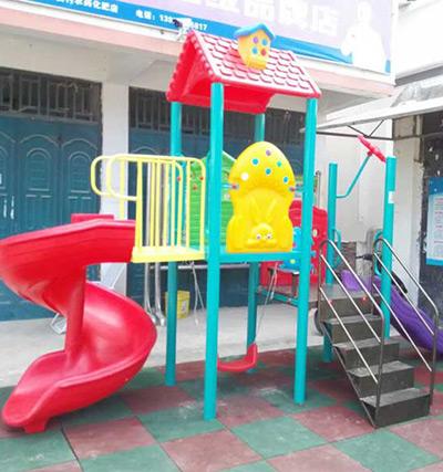永安村安装健宁体育组合滑梯