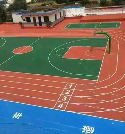 贵州兴义酸枣小学塑料跑道+篮球场完工照片